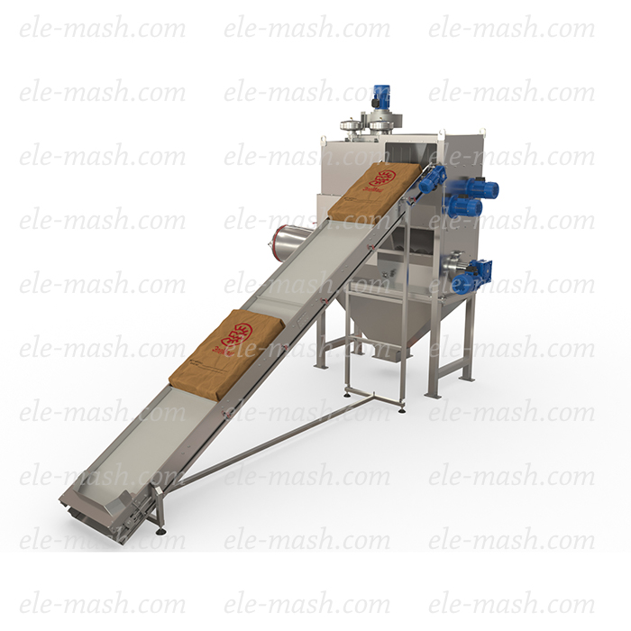 Automatic unloader for the bags