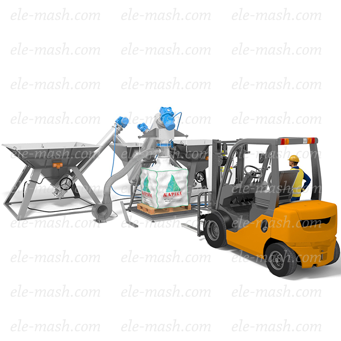 Jumbo bag unloading machine for free-flowing and dusting materials, series SHR