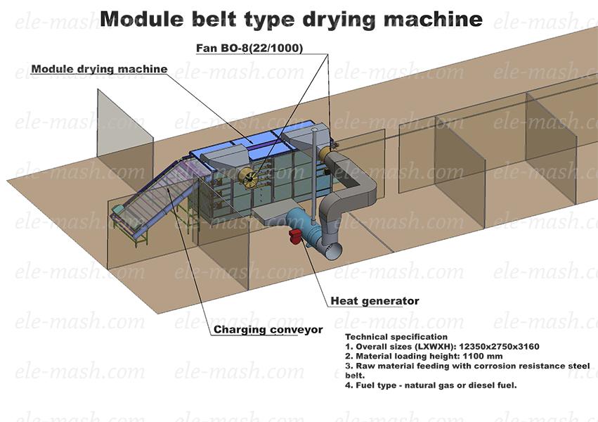 Modular belt type drying machine, series SLM