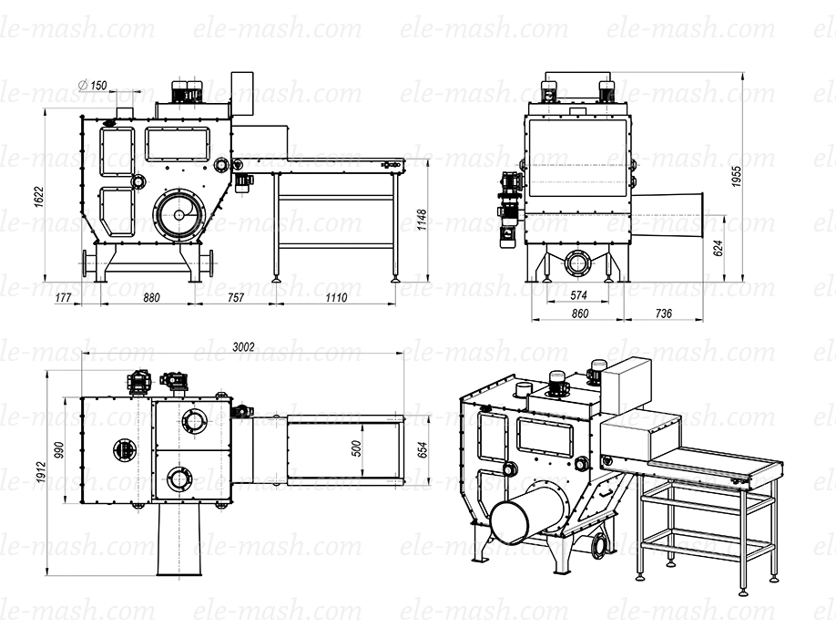 Automatic bag opening and emptying machine, series ShR-4